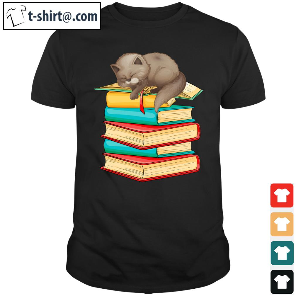 Cute Cat sleeping on books shirt